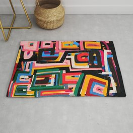 Neo Cubism Abstract Art Pattern Mystic Rug