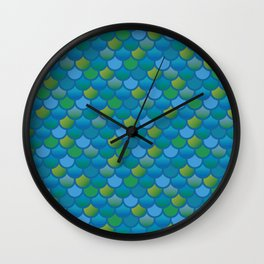 Mermaid Fish Scales in Blue and Green Wall Clock