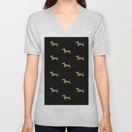 Dachshund Dog Gold Glitter Pattern Unisex V-Neck