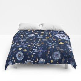 Indigo Flowers at Midnight Comforters