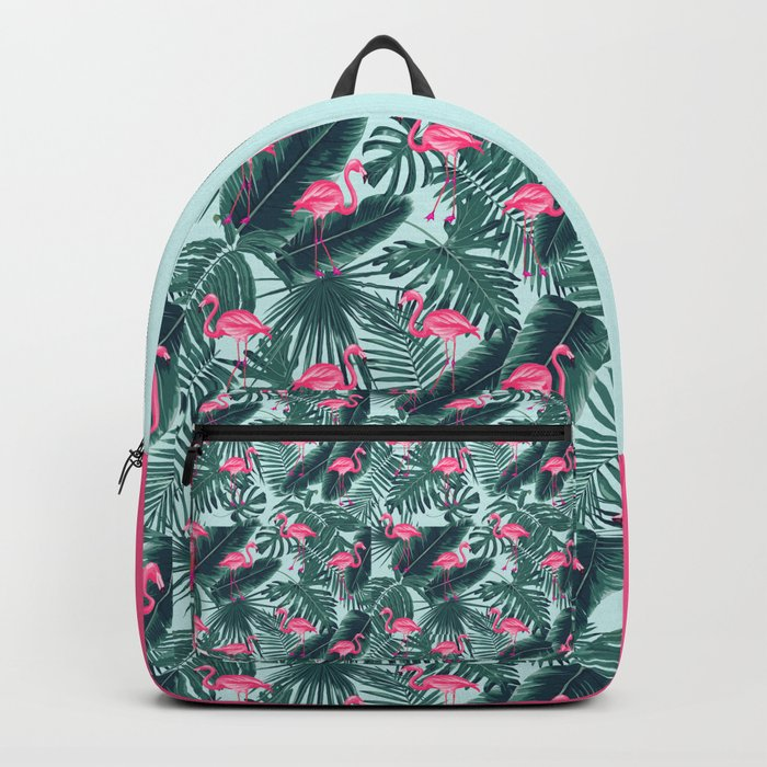 tropical pink flamingo Backpack