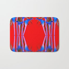 BLUE CALLA LILIES RED WATER REFLECTIONS Bath Mat