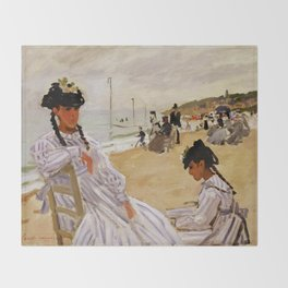 On the Beach at Trouville by Claude Monet Throw Blanket