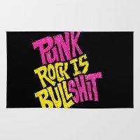 punk rock Area & Throw Rugs featuring Punk Rock is Bullshit by Chris Piascik