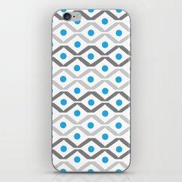 Grey & Blue Chevron iPhone Skin