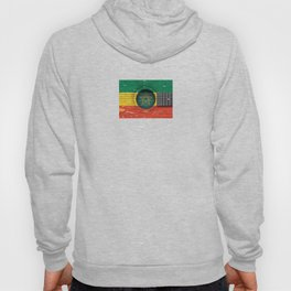 Old Vintage Acoustic Guitar with Ethiopian Flag Hoody