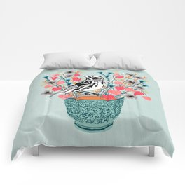 Tea and Flowers - Black and White Warbler by Andrea Lauren Comforters