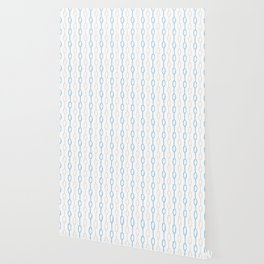 Abstract hand painted blue cream watercolor polka dots stripes Wallpaper