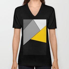 Simple Modern Gray Yellow and Black Geometric Unisex V-Neck