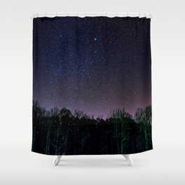 Star Night Sky Purple Hes With Forest Silhouette Shower Curtain