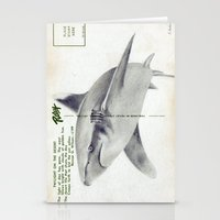 postcard Stationery Cards featuring Postcard Shark by Sarah Sutherland