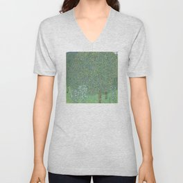 Gustav Klimt - Rosebushes Under the Trees Unisex V-Neck
