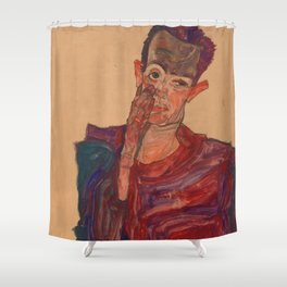 "Egon Schiele ""Self-Portrait with Eyelid Pulled Down"" Shower Curtain"