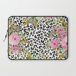 Elegant leopard print and floral design Laptop Sleeve