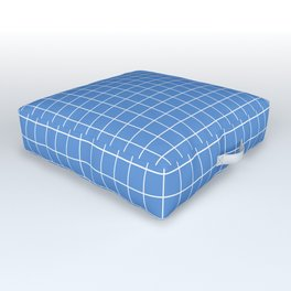 Grid Pattern - azure blue and white - more colors Outdoor Floor Cushion