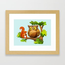 The Owl and The Squirrel Framed Art Print