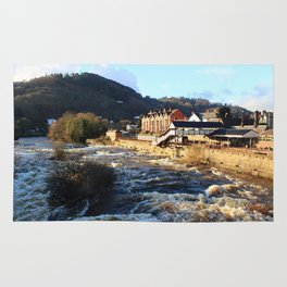 Llangollen Railway Station by the River Dee, Wales Rug
