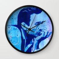johnny cash Wall Clocks featuring Johnny Cash by Jason Hughes