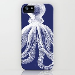 Octopus | Navy Blue and White iPhone Case