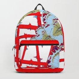RED-WHITE MOTHS  IN SYNCHRONIZED FLIGHT Backpack