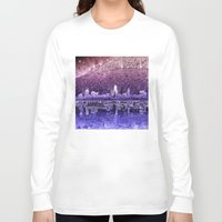 cleveland Long Sleeve T-shirts featuring cleveland city skyline by Bekim ART