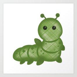 Emoji Caterpillar Plaid Art Print
