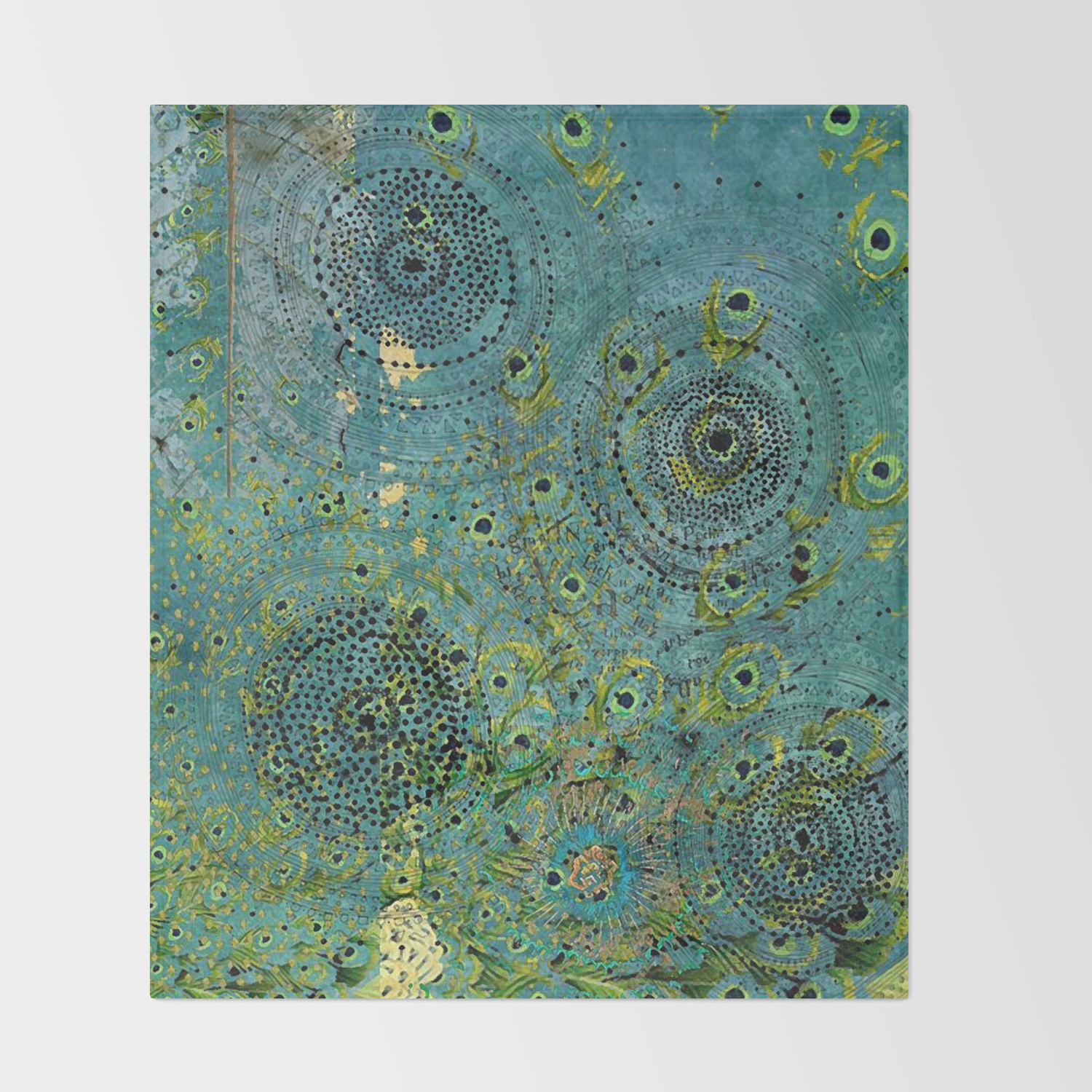 Blue Green Abstract Art Collage Throw Blanket By Shereejoy Society6