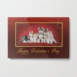 Husky Valentine card Metal Print