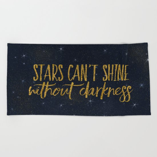 Stars - sparkling night typography 1 Beach Towel