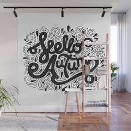 Hello Autumn handwritten lettering (black and white) Wall Mural