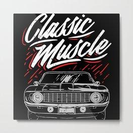 Vintage Cars Classic Muscle Car Motif Metal Print