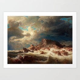 Marcus Larson - Stormy Sea With Ship Wreck Art Print