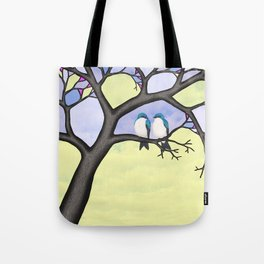 tree swallows in the stained glass tree Tote Bag