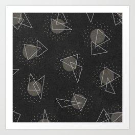 RANDOM ABSTRACT PATTERN BLACK Art Print