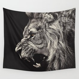 Angry Male Lion Wall Tapestry