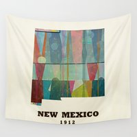 mexico Wall Tapestries featuring new mexico map modern by bri.buckley