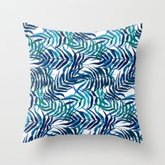 Watercolor floral pattern with palm leaves Throw Pillow