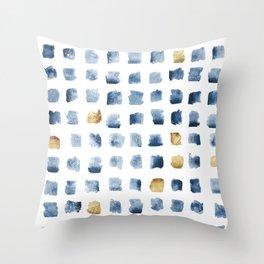 Watercolor Indigo Gold Geometrical Squares Pattern Throw Pillow