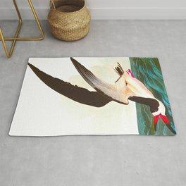 Black Skimmer or Shearwater John James Audubon Vintage Scientific Hand Drawn Illustration Birds Rug