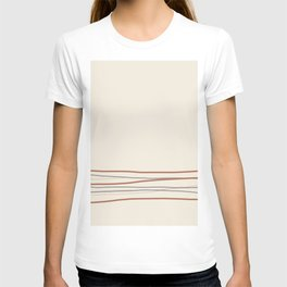 Off White Solid Color with Minimal Scribble Stripes Bottom Brown, Gray, And Beige T-shirt