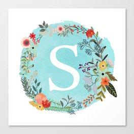 Personalized Monogram Initial Letter S Blue Watercolor Flower Wreath Artwork Canvas Print