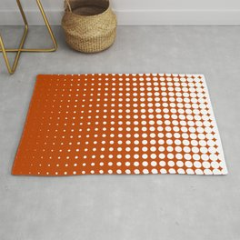 Cool modern techno shrinking polka dots white on mahogany Rug