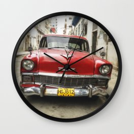 Vintage Red American Car on the Streets of Havana. Wall Clock