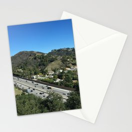 City in mountains, highway passing through Stationery Cards