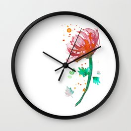 Warm Watercolour Fiordland Flower Wall Clock