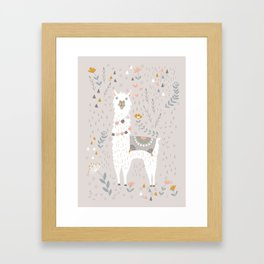 Sweet Llama on Gray Framed Art Print