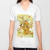 house V-neck T-shirts featuring Our House In the Woods by Teagan White