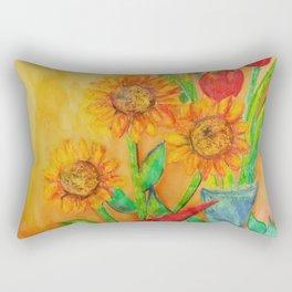 Little Sunflowers and Tulips Rectangular Pillow
