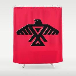 Animikii Thunderbird doodem on red Shower Curtain