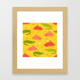 Cute african animals seamless pattern.Crocodile, hippo, hipo Framed Art Print